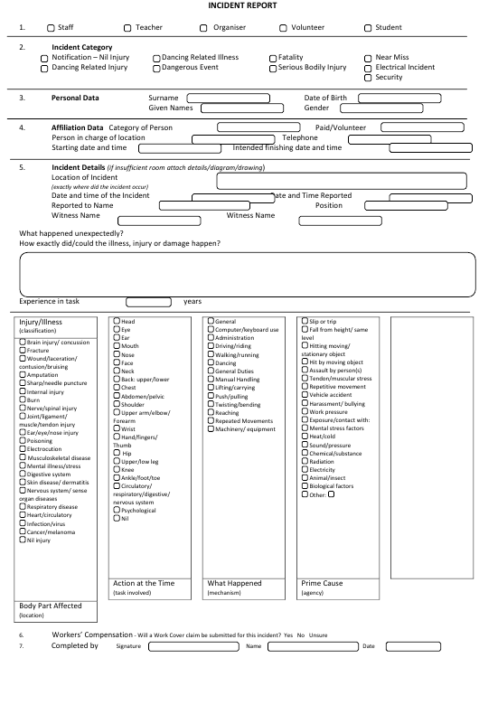 """""""Incident Report Template"""" Download Pdf"""