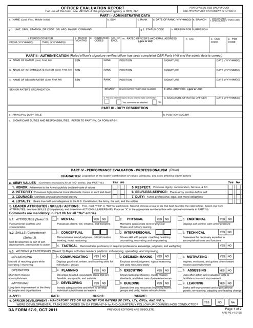DA Form 67-9 Printable Pdf