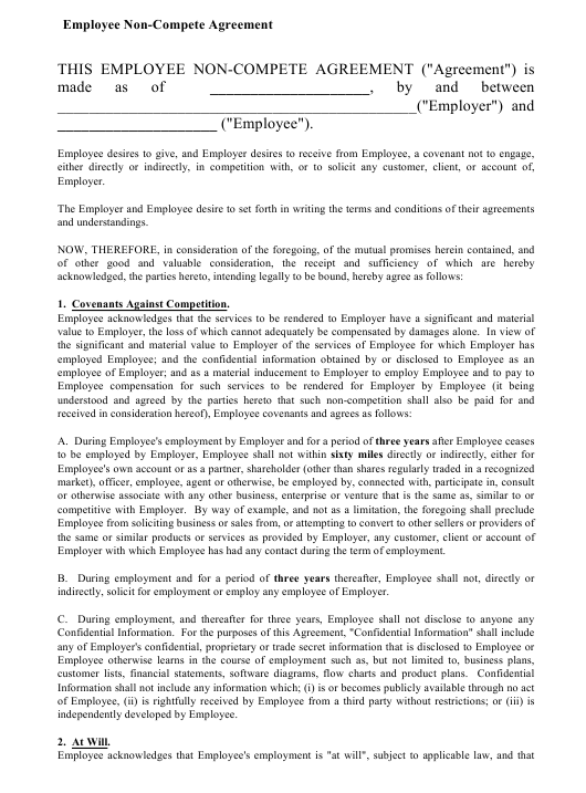 """""""Employee Non-compete Agreement Template"""" Download Pdf"""
