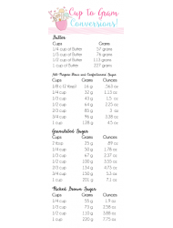 Cup To Gram Conversion Chart