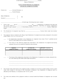"Form AOC21 ""Full or Partial Release of Judgment Liens by Judgment Creditor"" - Oklahoma"