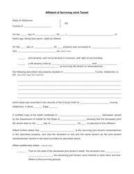 Affidavit Of Surviving Joint Tenant - Oklahoma