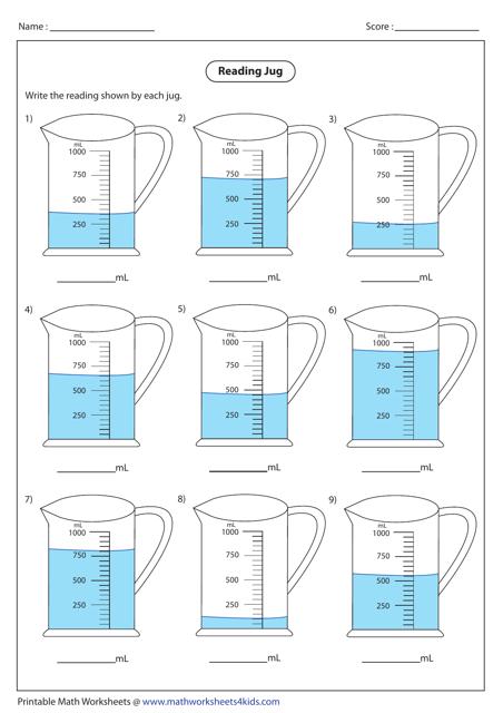 Reading Jug Data Analyzing Worksheet With Answer Key Download