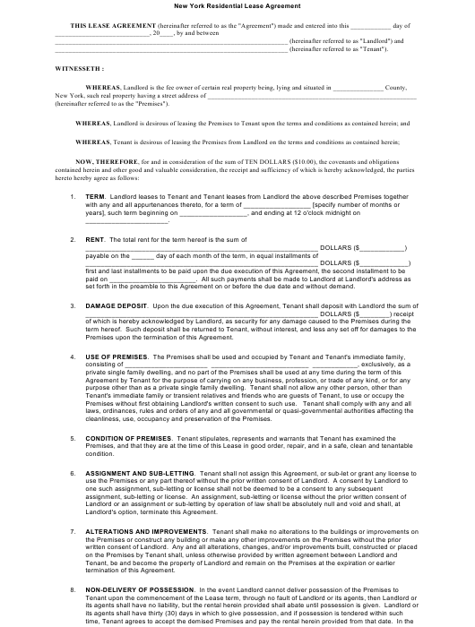 Residential Lease Agreement Template New York Download