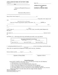 "Form CIV-GP-70 ""Affidavit of Service of Subpoena of Records"" - New York City"