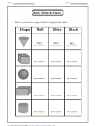 Roll, Slide and Stack Shapes Worksheet With Answers