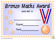 """Bronze Maths Award Certificate Template"""