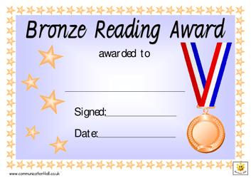 """Bronze Reading Award Certificate Template"""