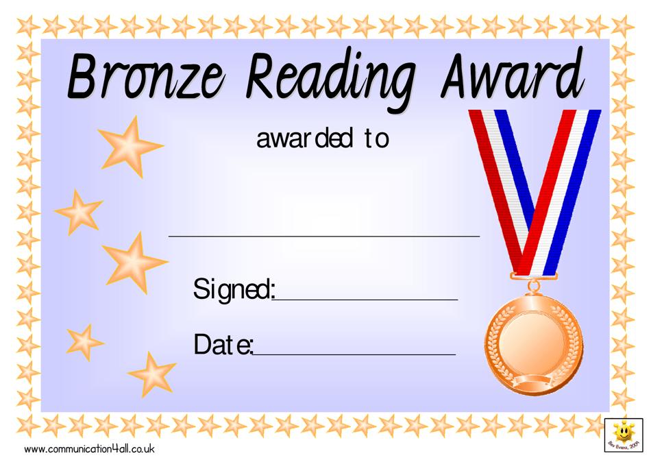 certificate award template pdf silver reading maths bronze fill templateroller printable