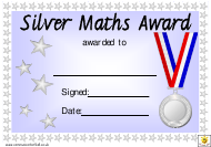 """Silver Maths Award Certificate Template"""