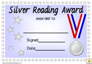 """Silver Reading Award Certificate Template"""