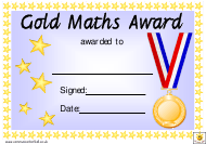 """Gold Maths Award Certificate Template"""