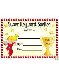 Super Keyword Speller Award Certificate Template