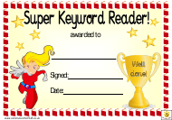 """Yellow Super Keyword Reader Award Certificate Template for Girls"""