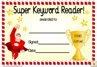 """Yellow Super Keyword Reader Award Certificate Template for Boys"""