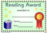 """Red Ribbon Reading Award Certificate Template"""