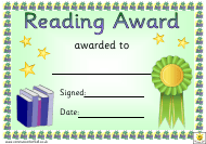 """Green Ribbon Reading Award Certificate Template"""