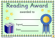 """Blue Ribbon Reading Award Certificate Template"""