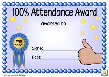 """""""100% Attendance Award Certificate Template"""""""
