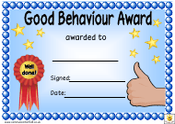 """Good Behaviour Award Certificate Template"""