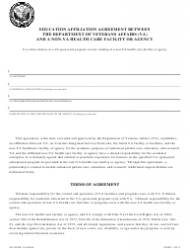 VA Form 10-0094h Education Affiliation Agreement Between the Department of Veterans Affairs (VA) and a Non-VA Health Care Facility or Agency