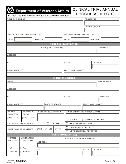 VA Form 10-0455 Fillable Pdf