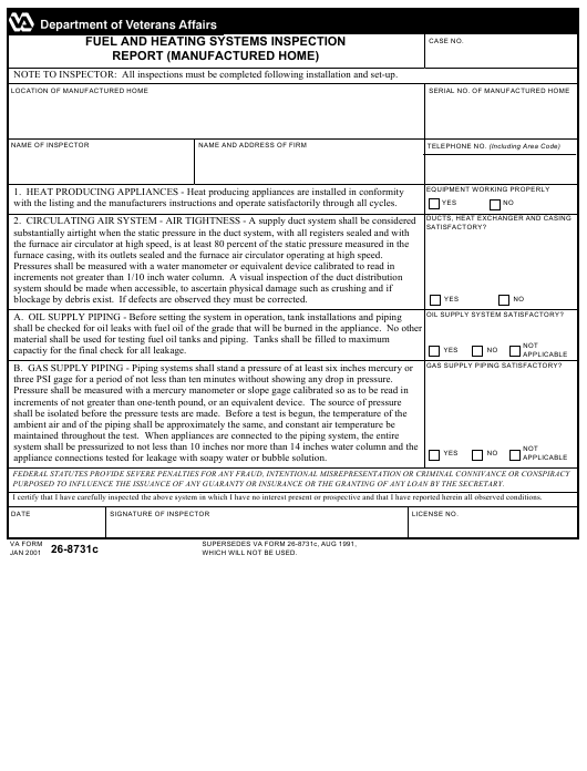 VA Form 26-8731c Download Fillable PDF, Fuel And Heating Systems ...