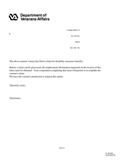 VA Form FL 29-459 Download Fillable PDF, Request for