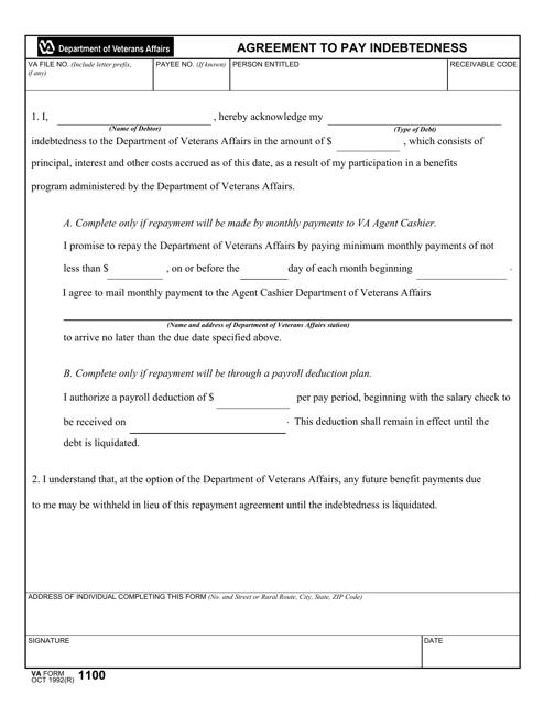 VA Form 1100 Fillable Pdf