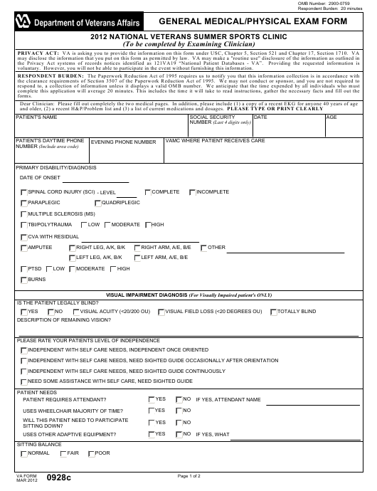va form 0928c download fillable pdf  national veterans