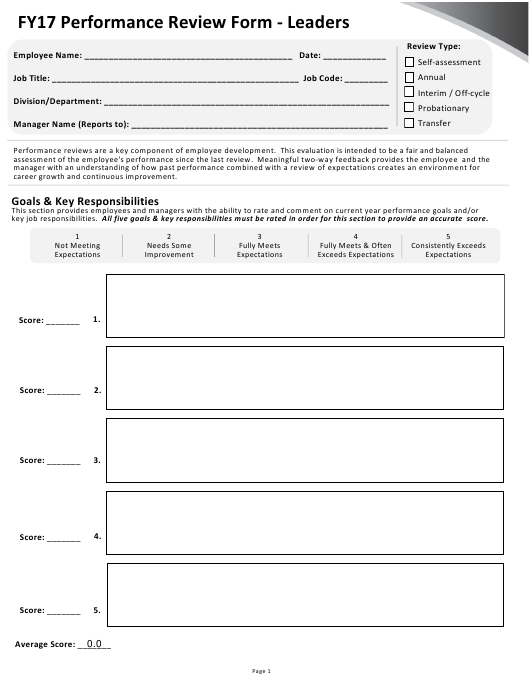 """Performance Review Form - Leaders - University of Rochester"" Download Pdf"