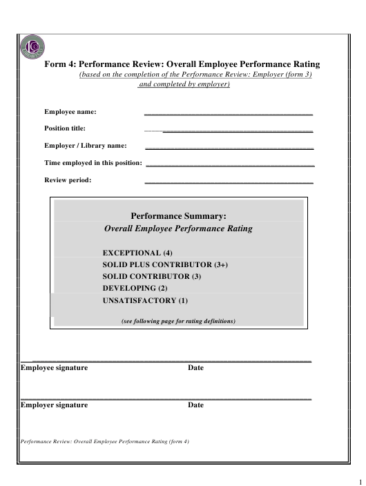 """""""Library Employee Performance Review Form - Overall Employee Performance Rating - Libraryco"""" Download Pdf"""