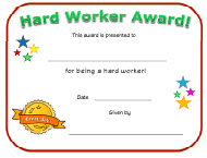 """Hard Worker Award Certificate Template"""