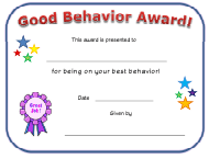 """Good Behavior Award Certificate Template"""