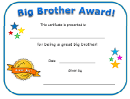 """Big Brother Award Certificate Template"""