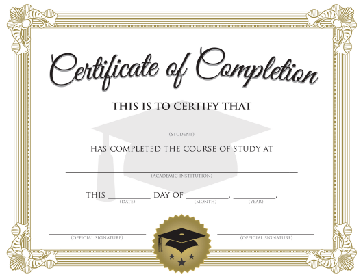 """Study Course Completion Certificate Template"" Download Pdf"