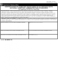 VA Form 40-0895-15 Certification of Cemetery Maintained in Accordance With National Cemetery Administration Standards