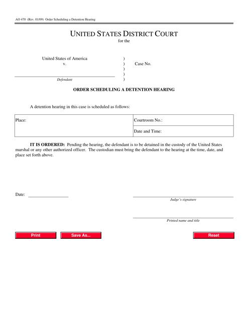Form AO 470 Fillable Pdf