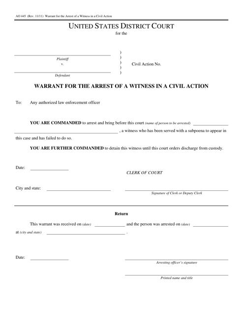 Form AO 445 Printable Pdf