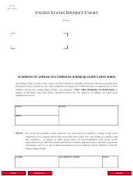 Form AO 205 Summons to Appear to Complete Juror Qualification Form