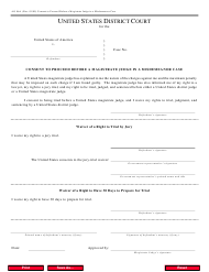 Form AO 86A Consent to Proceed Before a Magistrate Judge in a Misdemeanor Case