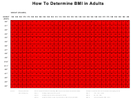 BMI Chart for Adults