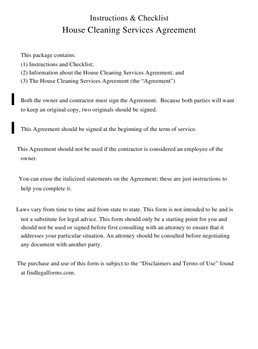 House Cleaning Services Agreement Template Download Printable Pdf