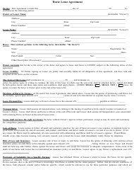 Horse Lease Agreement Template