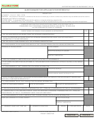 """NAVPERS Form 1800/13 """"Questionnaire for Applicants for Retired Pay"""""""