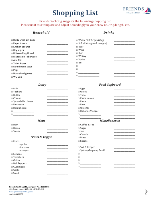 """""""Shopping List Template - Friends Yachting"""" Download Pdf"""