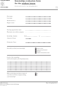 Internship Evaluation Form for the Student Intern - Scuola Del Design