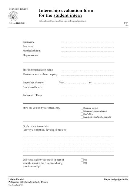 """""""Internship Evaluation Form for the Student Intern - Scuola Del Design"""" Download Pdf"""