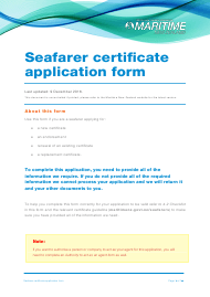 """Seafarer Certificate Application Form"" - New Zealand"