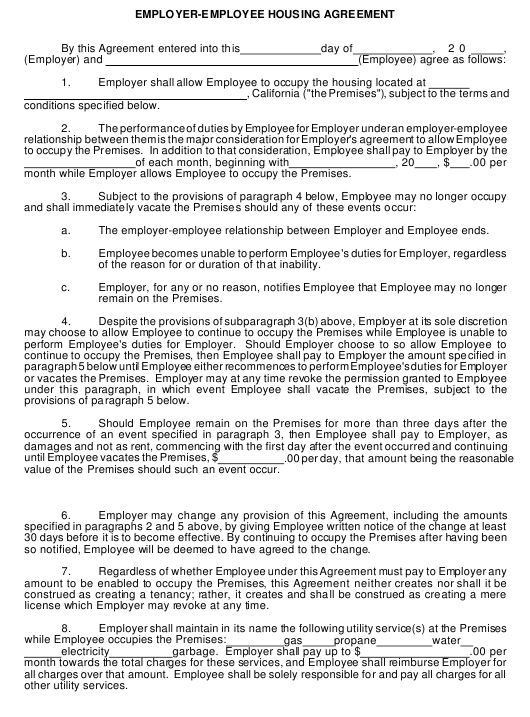 Employer Employee Housing Agreement Template English